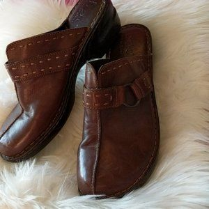 BORN Brown Leather Stitched Clogs Size 11